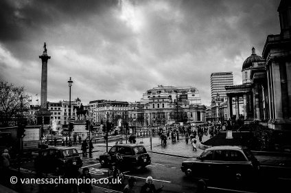 Trafalgar Square and London Black Cabs Taxis London Prints for offices, hotels, foyers, interior design, architecture, buildings, office spaces, new offices, bespoke and large stock library