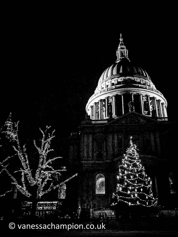 St Pauls Cathedral at night at Christmas with lights London Prints for offices, hotels, foyers, interior design, architecture, buildings, office spaces, new offices, bespoke and large stock library