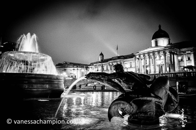 Night in Trafalgar Square, fountains and National Gallery behind London London Prints for offices, hotels, foyers, interior design, architecture, buildings, office spaces, new offices, bespoke and large stock library