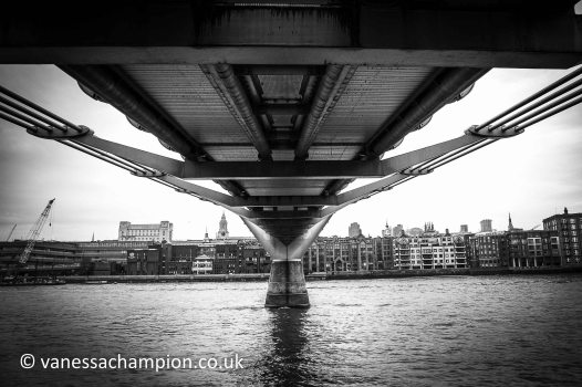 Millennium Bridge from Tate Modern to St Pauls, London Prints for offices, hotels, foyers, interior design, architecture, buildings, office spaces, new offices, bespoke and large stock library