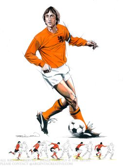 A study by the master of movement of the Cruyff Turn that was first seen at the Fifa World Cup Finals of 1974 and is widely replicated in the modern game. Johan Cruyff was a dutch player who won the Ballon d'Or three times in 1971,1973 and 1974 and the most famous exponent of the Ajax philosophy Total Football and is considered one of the greatest players in football history