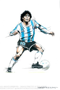 Marodona was recognised as joint FIFA Player of the Century with Pele. Maradona 's vision, passing dribbling skills and low centre of gravity allowed him to dribble past multiple players on exciting runs. He played 91 times for Argentina and scored 34 goals playing in the 10 position. He played in four FIFA World Cup Tournamounts. In 1986 he captained the team to victory over West Germany he also won the Golden ball for being player of the tournamount. It was in these finals that Maradona scored two Quater Final Goals against England. The first goal is remembered as the Hand of God as the officials failed to see a handling foul and the second was voted Goal of the Century as Maradona went on a run dribbling past five England players over 66 yards before passing the ball into the corner of the goal.