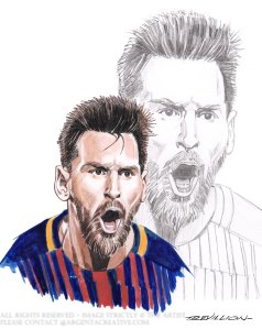 In 2014 Messi achieved a historic treble he became the all time top scorer in La Liga after he surpassed the 59 year old record of 251 goals . Three days later he passed Raul's 71 goals to become the top scorer in the history of the Champions League . Messi finally became the all time goal scorer in the Derbi barceloni afyer scoring a hat trick against Espanyol and moving onto 12 goals. The picture of Messi was published in the Guardian to promote the 2014 FIFA World Cup in which Argentina came Runners Up