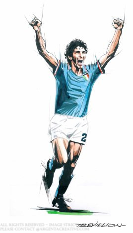 Paolo Rossi led Italy to the 1982 FIFA World Cup title scoring six goals to win the Golden Boot as the top goal scorer and the Golden Ball for the player of the tournament. Rossi was also awareded the Ballon d'Or as the European Fottballer of the Year. Rossi played his domesic football for Juventus and went on to win Serie A titles, Coppa Italia , Uefa Cup Winners Cup, Uefa Super Cup and the European Cup. Rossi is regarded as one of the greatest Italian footballers of all time.