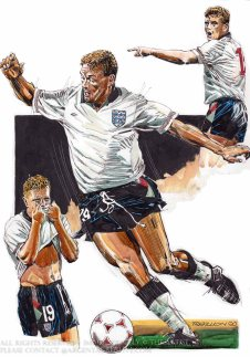 Englands performance in the Italia 90 Fifa World Cup will be remembered for the goals of Gary Linekar and the skills and emotion of England midfielder Paul Gascoinge. Gazza brought England to life when manager Bobby Robson changed the formation in Englands second game of the tournament. They reached the semi final for the first time on foreign soil. The game against Germany was full of emotion and Gazza the clown of the dressing room broke down in tears as he realised when booked he would miss the final. As it was England lost the game on penalties and finally ended the competition in fourth place. The competition was heralded a great success and brought football back to the English people