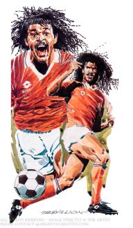 Gullit recognisable for his dreadlocks and moustache captained the Netherlands national team to victory in the UEFA Euro 88. He played 68 times for his Country scoring 17 goals from midfield. In 1987 he moved from PSV to AC Milan for a world record transfer fee teaming up with dutch colleagues Marco Van Basten and Frank Rijkaard. The formidable trio helped Milan win three Serie A titles and Two European Cups. In 1996 he signed and won an FA Cup with Chelsea before becoming the clubs player manager preaching Sexy Football. Gullit won the Balon d'or in 1987